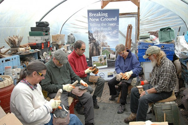 Participants learn how to create flint tools with expert John Lord.